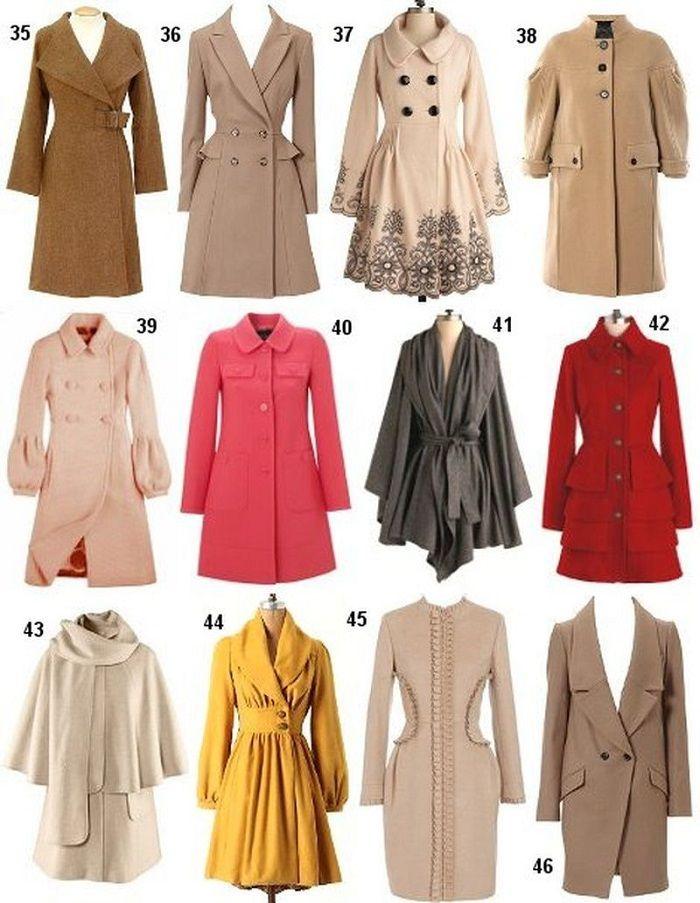 Шпаргалка для девушек  35 — асимметричное пальто, 36 — пальто А-силуэта, 37 — ретро-купонное пальто с завышенной талией, 38 — ретро-модель пальто с рукавом-фонариком, кокеткой и воротником-стойкой, 39 — винтажное пальто с крупными пуговицами и рукавом бидермейер, 40 — пальто-трапеция с накладными карманами в стиле сафари, 41 — пальто-шаль, 42 — романтическое пальто с воланами, 43 — модное пальто с накидкой (кейп), 44 — расклешенное пальто с шалевым воротником, 45 — приталенное пальто без…
