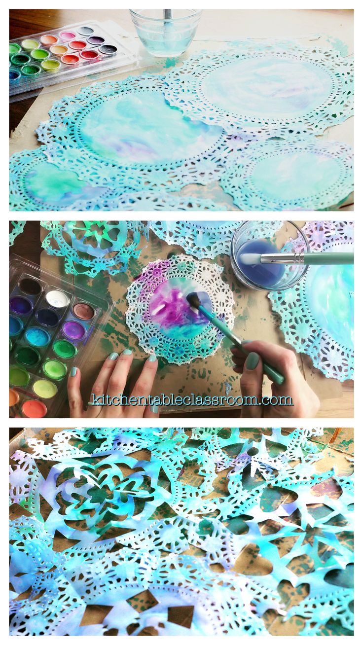 Doily Snowflakes- Lacey Watercolor Cut Paper Snowflakes – The Kitchen Table Classroom