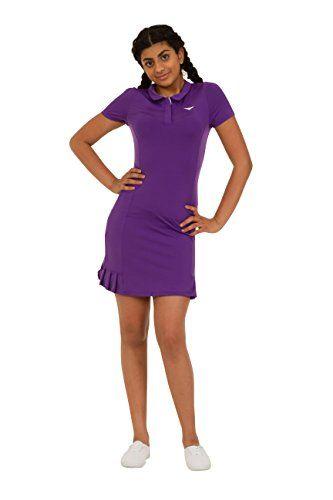 UK Golf Gear - Girls Purple Polo tennis dress Pleated Tennis Dress Junior Netball Dress Golf dress Sportswear