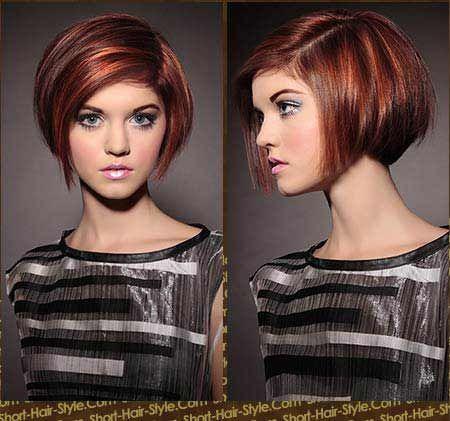 short bob hair cut - multi-dimensional red highlight