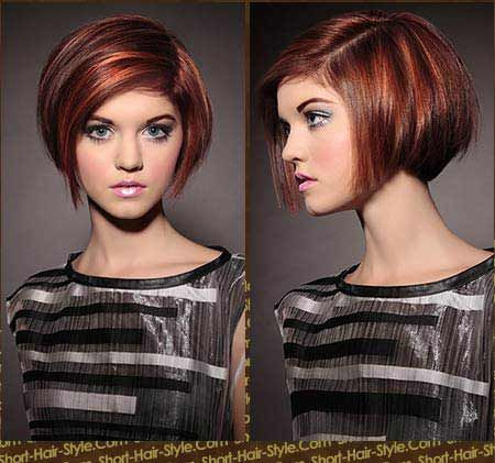short bob hair cut - multi-dimensional red highlight ...