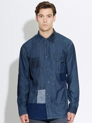 Waven - Mens Helgi shirt Indigo patch