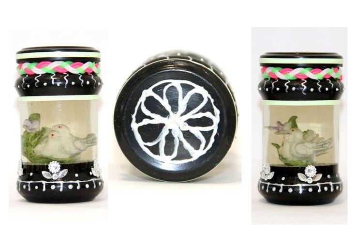Twinkling water showpiece made in a empty jam bottle