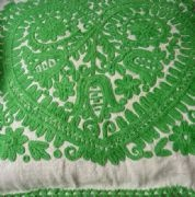 Embroidered Kalotaszeg cushion in an unsual green!