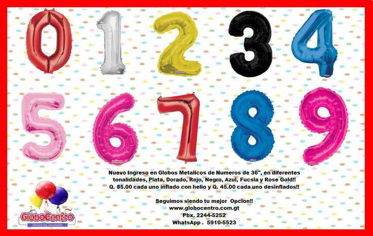 "Contamos con Globos en forma de #Números metálicos de 36"" 7 tonalidades diferentes!!"