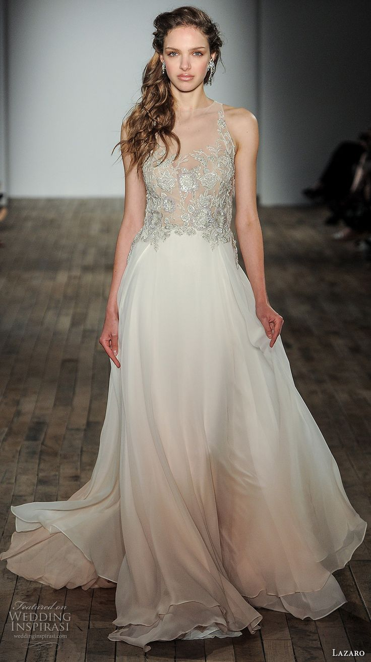 205 best images about pink blush gowns on pinterest for Lazaro a line wedding dress