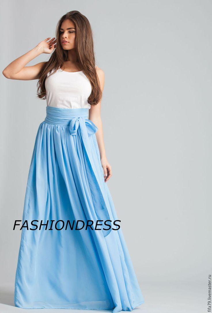 Купить Голубая Супер Длинная Шифоновая Юбка - голубой, шифоновая юбка, юбка в пол