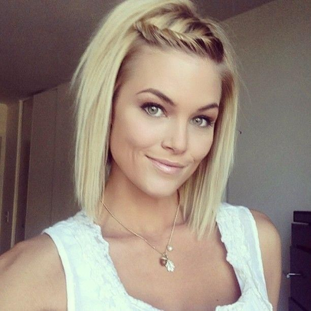Straight Shoulder Length Hairstyles with Braid Bangs