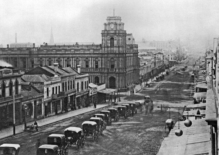 Bourke Street in the 1870s, no cable trams yet and the GPO is a little short.