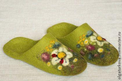 """Обувь ручной работы. Ярмарка Мастеров - ручная работа Тапочки """"Полянки"""". Handmade."""