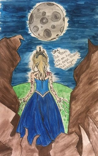 'Sky. The stars rest on her skin, even though she's been scared.'  Just a watercolour piece I did of my idea of a personification of the night sky. Comment what you think. #art #watercolour #sky #night #stars #moon #sketch #poem #nightsky #glow #shines #blondehair #ocs