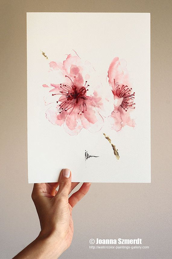 Cherry blossom watercolor art print. The pink wall decor is delicate and light. Its not as simple as many other my zen cherry blossom paintings.…