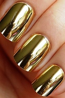 We LOVE Golden Metallic nails! #2014summertrend I want this mani
