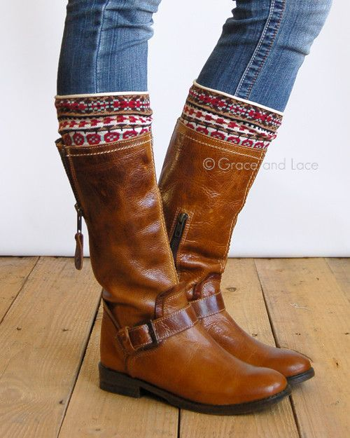 Grace & Lace Patterned Boot Cuffs™ (Nordic Fair Isle - Brown, Red, Mint)