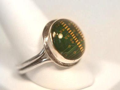 Mens Circuit Board Ring in Sterling - Silver Statement Ring Green Memory Chip - Geek Jewelry - Recycled Jewelry - Computer Jewelry