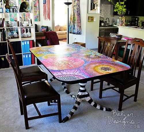 vom Balzer Designs Blog: gestrichene Tabelle: Die fertige Tabelle (Teil zwei)