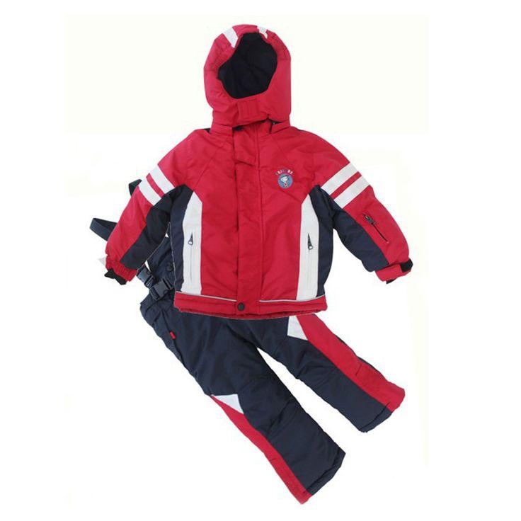 ==> [Free Shipping] Buy Best Waterproof Sportwear kids boys and girls Ski Suit boys Winter Ski wear Top Hoodie Jacket Strap Pants snow jacket and pants Online with LOWEST Price | 32692562877