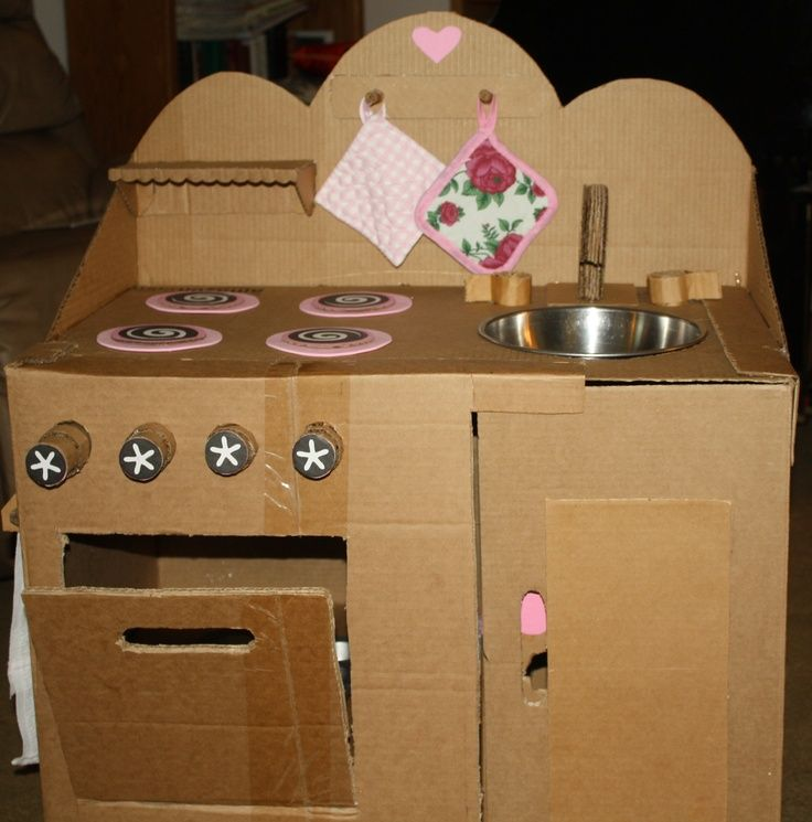 cardboard play kitchens | Play Kitchen out of cardboard. | DIY - cardboard ideas for kids