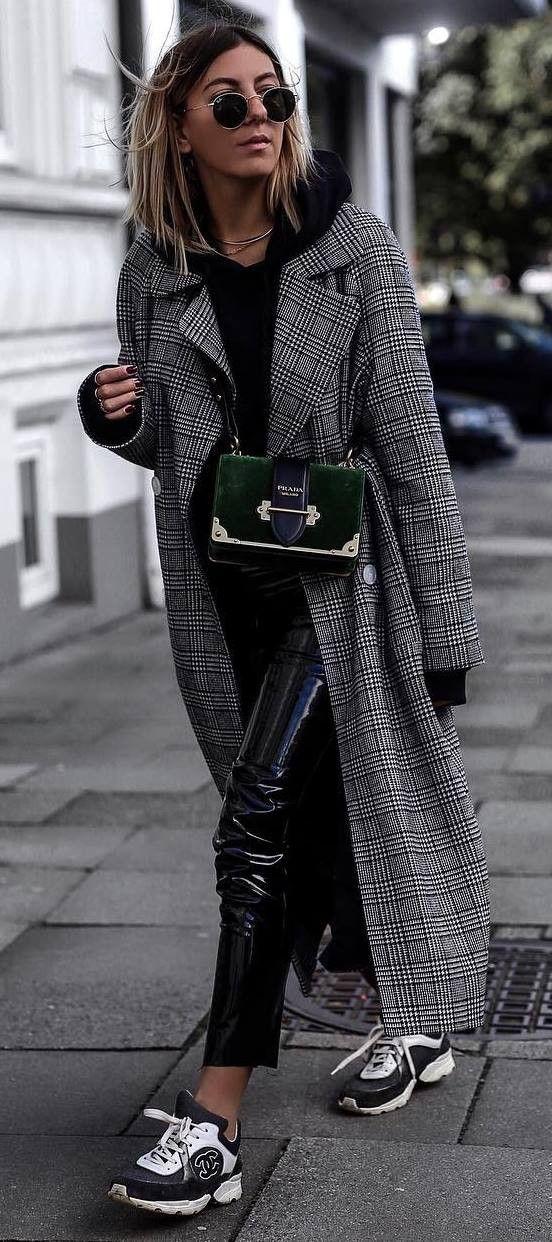 how to style a plaid coat : black hoodie + bag + skinnies + sneakers