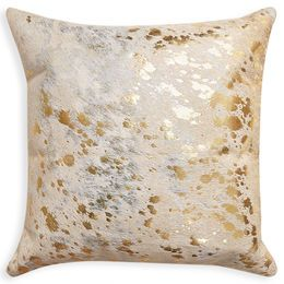 "Gilded Luxury.  Add some textural twinkle to your sofascape with our Cowhide Pillows. Foil-printed with our signature Drip pattern, this 18"" X 18"" pillow is a great way to inject golden glamour into your life. #jonathanadler #homedecor"