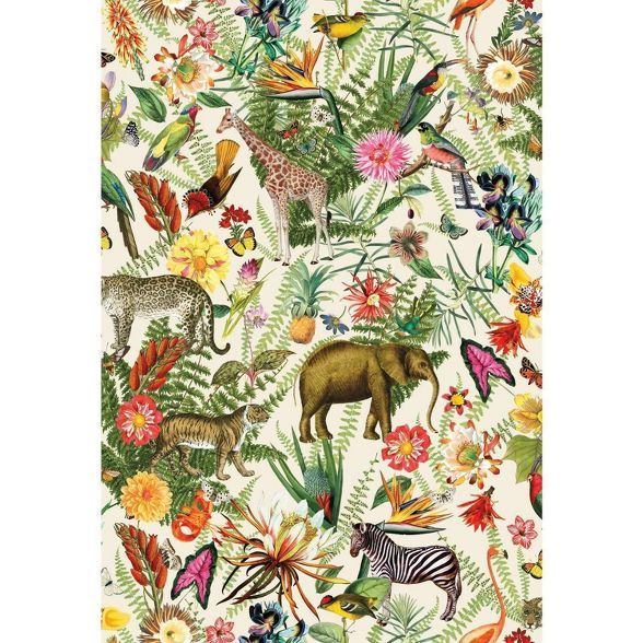 Roommates Tropical Zoo Peel Stick Wallpaper In 2020 Peelable Wallpaper Botanical Wallpaper Peel And Stick Wallpaper