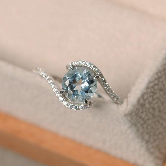 Aquamarine Engagement Ring Gold Aquamarine Wedding Ring Rose Gold Twig Engagement Ring Solitaire Aquamarine Ring Unique Engagement Rings