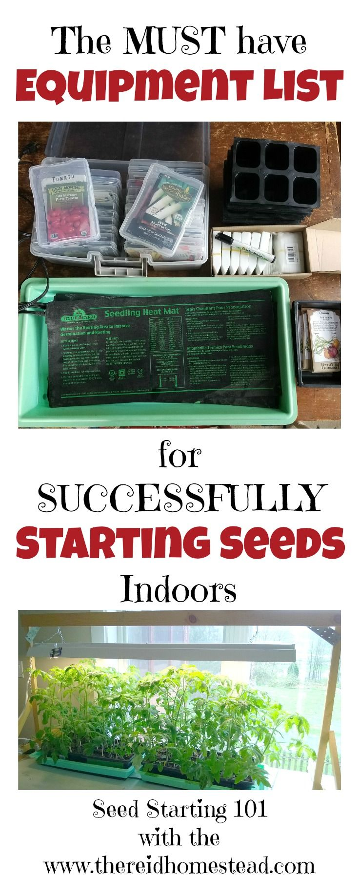Use the correct equipment to masterfully start your own seed indoors. Grow healthy tomatoes, peppers and more from seed this winter! Part of my Seed Starting 101 Series. The Reid Homestead