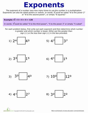Printables Exponents Worksheets For 5th Grade exponent worksheets for 5th grade davezan exponents scalien worksheets
