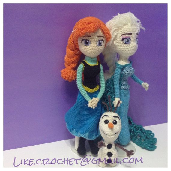 Amigurumi Frozen : North mountain snowqueen and anna amigurumi by likecrochet