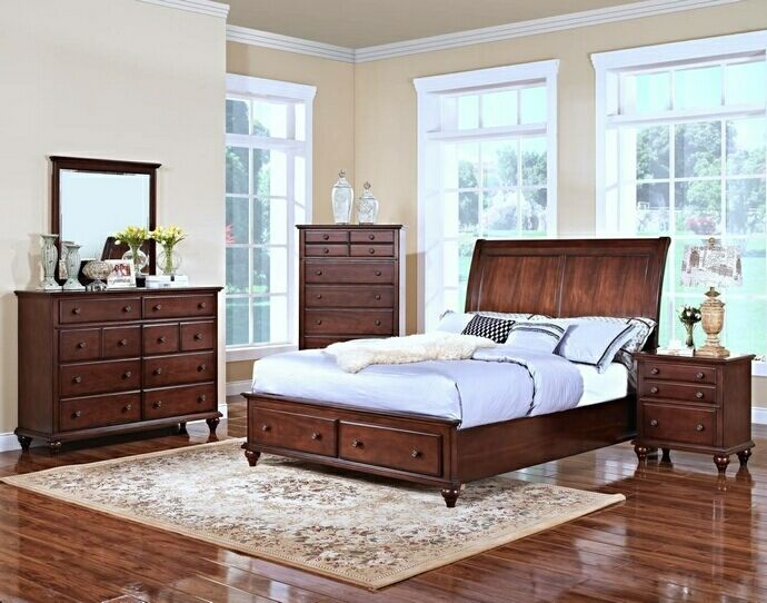 5 pc spring creek collection tobacco finish wood headboard queen bedroom set u2026