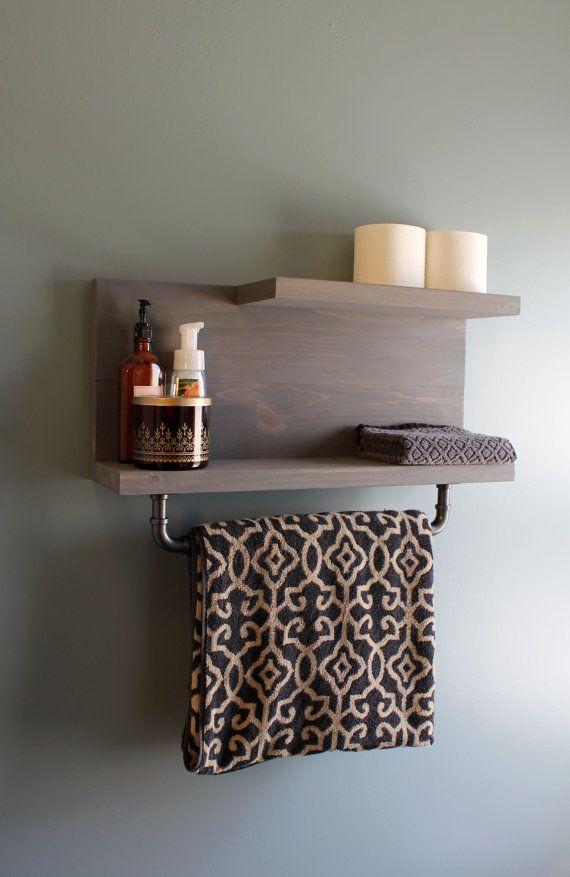 modern industrial floating bathroom wall shelf with pipe towel bar