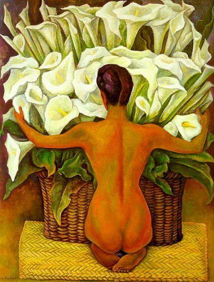 Desnudo con Alcatraces (1944). Diego Rivera, pintor y muralista mexicano.