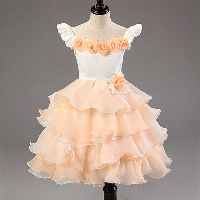 Wedding Girl Dress Princess for Kids Party Wear Baby Pageant Dresses Toddler Evening Gowns Pink Junior Bridesmaid Dress Costume