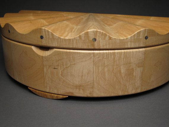 Custom Jewelry Box Curly Maple Sculpted Lid Rotating by watswood