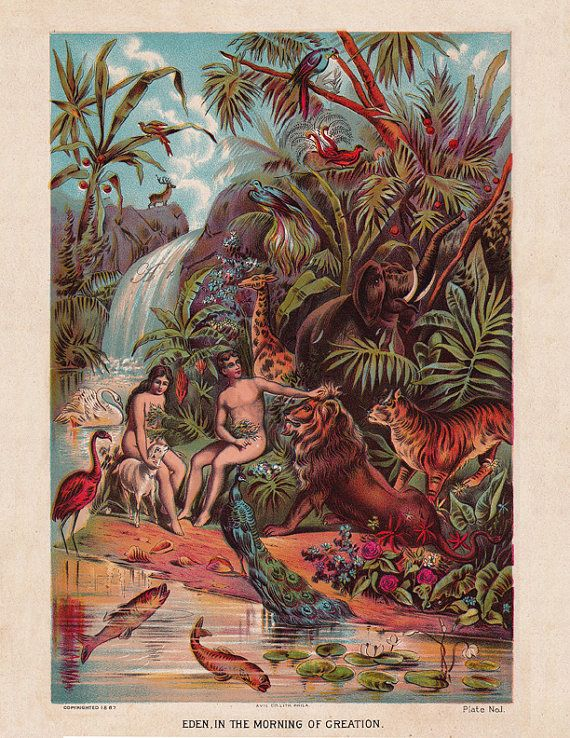 Adam and Eve in the Garden of Eden, a digital download from Artdeco on Etsy $4.00