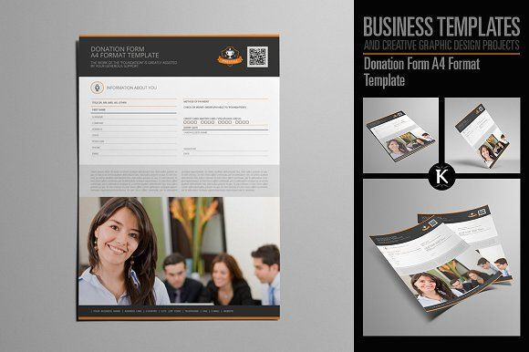 Donation Form A4 Format Template by Keboto on @creativemarket