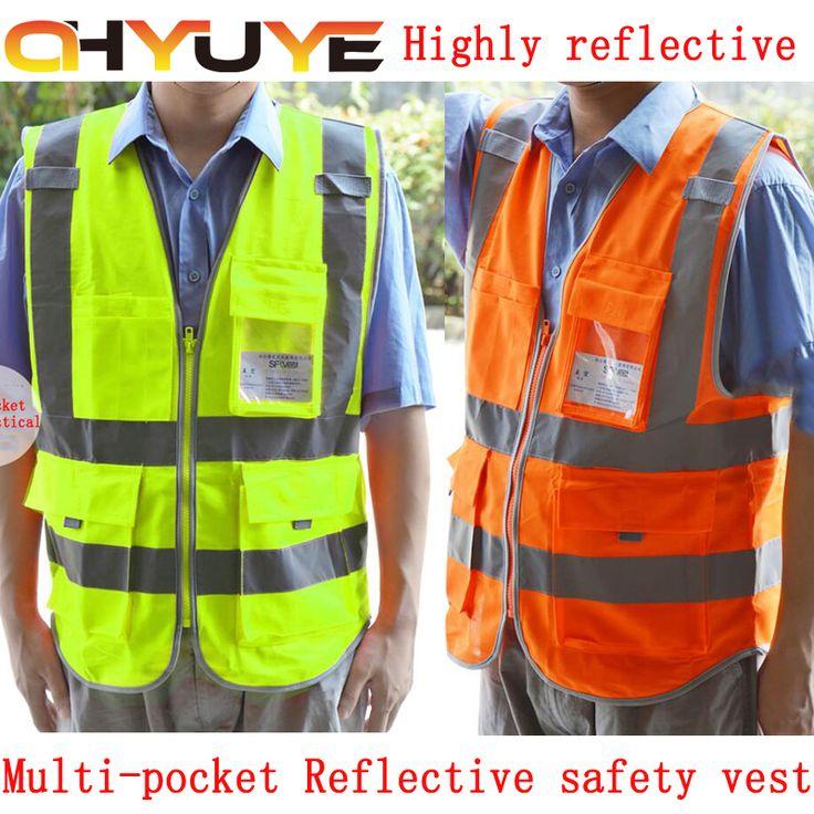 Multi-pocket Reflective safety vest construction work safety clothing Road traffic sanitation yellow orange vest free shipping