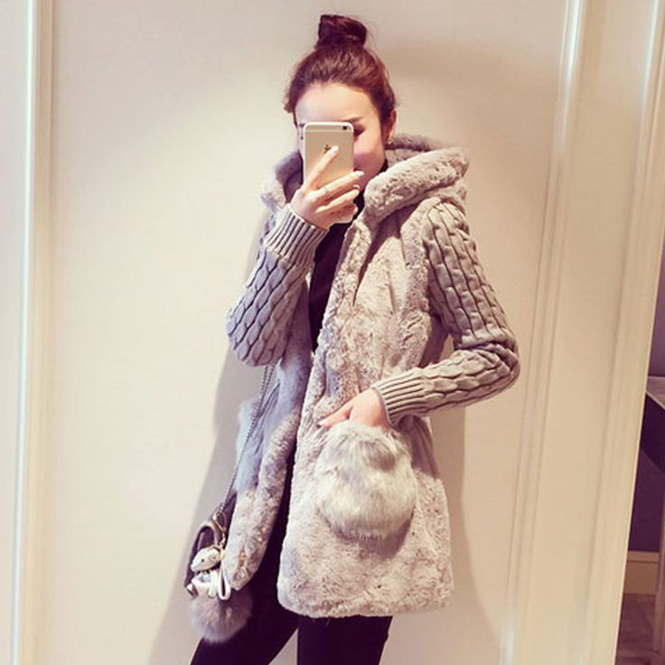2015 women's slim fashion knitted patchwork plush thickening with a hood sweater outerwear female-inCardigans from Women's Clothing & Accessories on Aliexpress.com | Alibaba Group