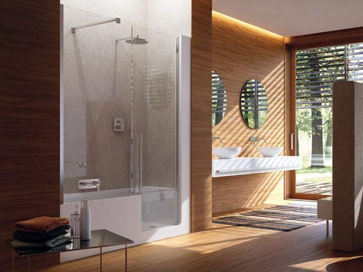 Vasca da bagno con doccia con porta ELLE DOOR by Glass 1989 design Claudia Danelon