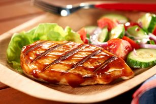 BBQ chicken  1/3 cup KRAFT Classic Caesar Dressing  4 small boneless skinless chicken breast halves (1 lb.)  1/4 cup KRAFT or BULL'S-EYE Original Barbecue Sauce