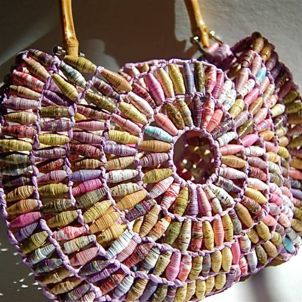 paper bead purse... could be fabric beads as well