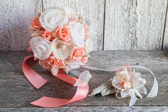 Bouquet de mariée rustique corail et par lechoixdelamariee sur Etsy