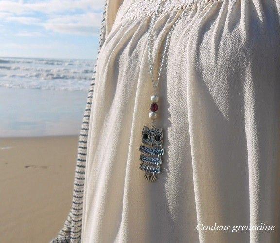 Collier sautoir hiboux articulé, perles, grenat pierre semi précieuse