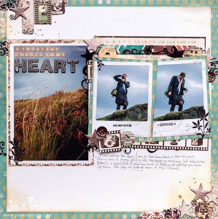 Pick 5! Creating a scrapbook layout from five old products. Finished layout with…