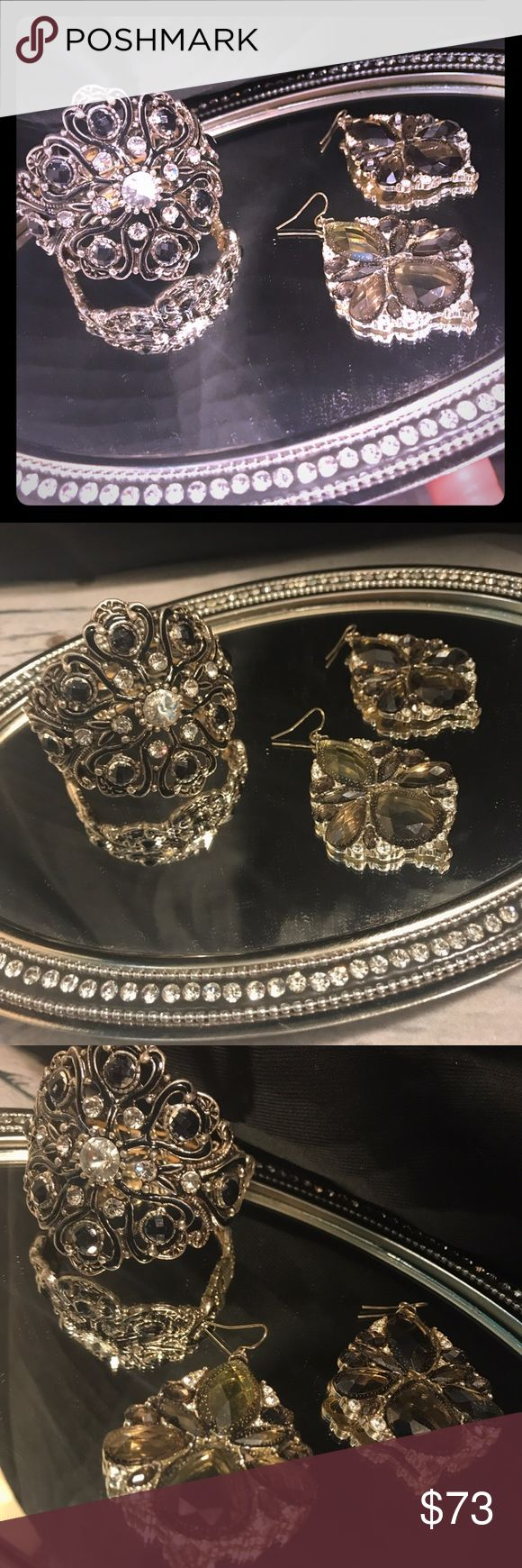 🎊SALE! ✨🆕glam crystal cuff & earrings never worn Neiman Marcus jewelry designer: Lydell NYC glam crystal cuff & earrings never worn! Vintage inspired cuff org $75 earrings org $65 Neiman Marcus Jewelry