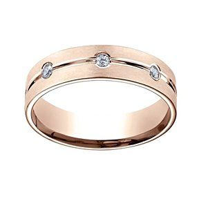 0.32 Ct Natural Diamond 6Mm Comfort Fit 14K Rose Gold Eternity Ring Sz-10 # Free Stud Earrings by JewelryHub on Opensky