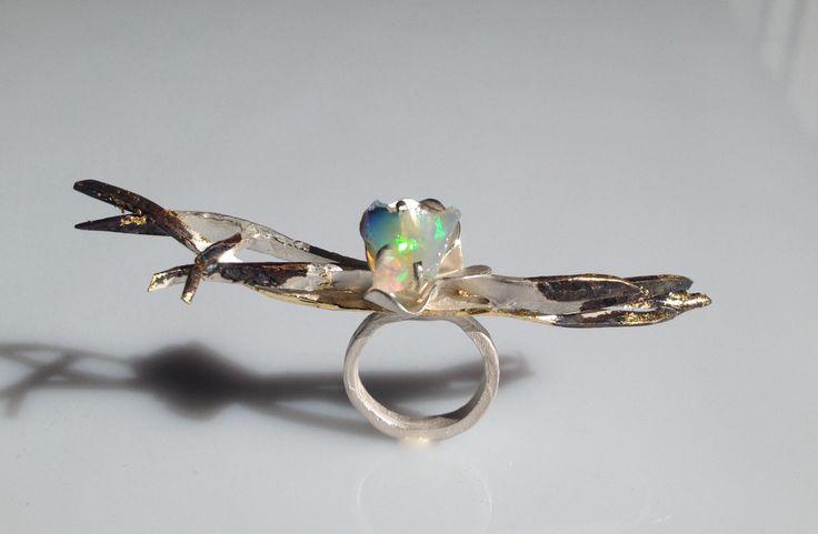 Gemma Argento puro opale foglia d'oro