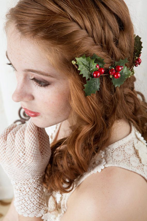 holly hair accessories, christmas hairpiece, holly berries hair clip -MERRILY- green holly leaves, red hair accessory, headband headpiece