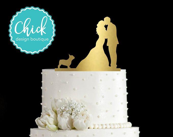 Bulldog Francés pastel de bodas Topper pintado a mano en pintura metálica con pareja besos