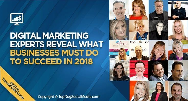 19 Digital Marketing Experts Reveal What Businesses Must Do to Succeed in 2018  ||  We asked 19 digital marketing experts that are on the forefront of digital transformation to provide their insights on what businesses should focus on in 2018. https://topdogsocialmedia.com/digital-marketing-experts-2018/?utm_campaign=crowdfire&utm_content=crowdfire&utm_medium=social&utm_source=pinterest